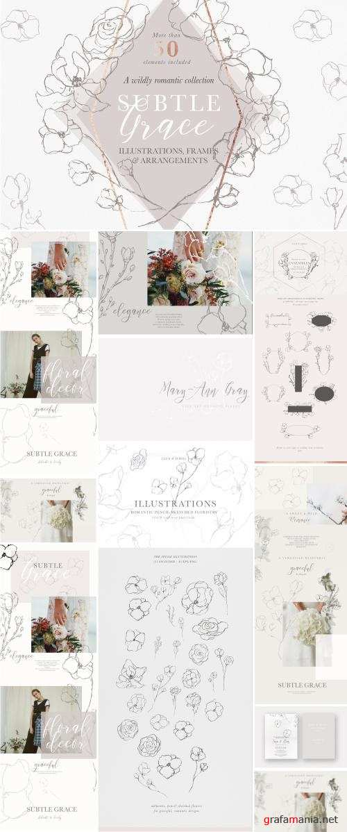 Graceful Floral Illustrations Bundle - 2491311