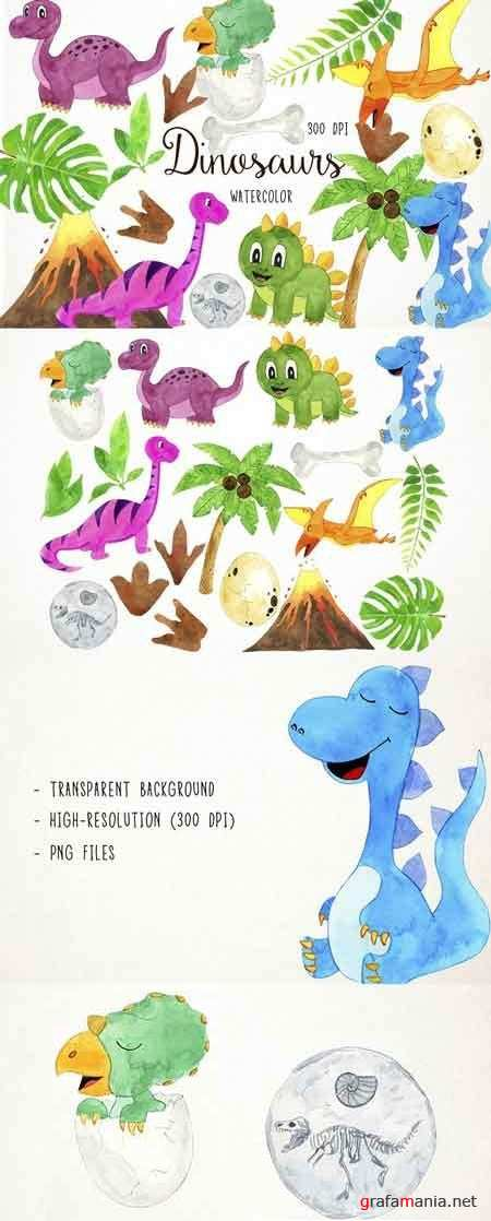 Watercolor Dinosaurs Clipart 2582233