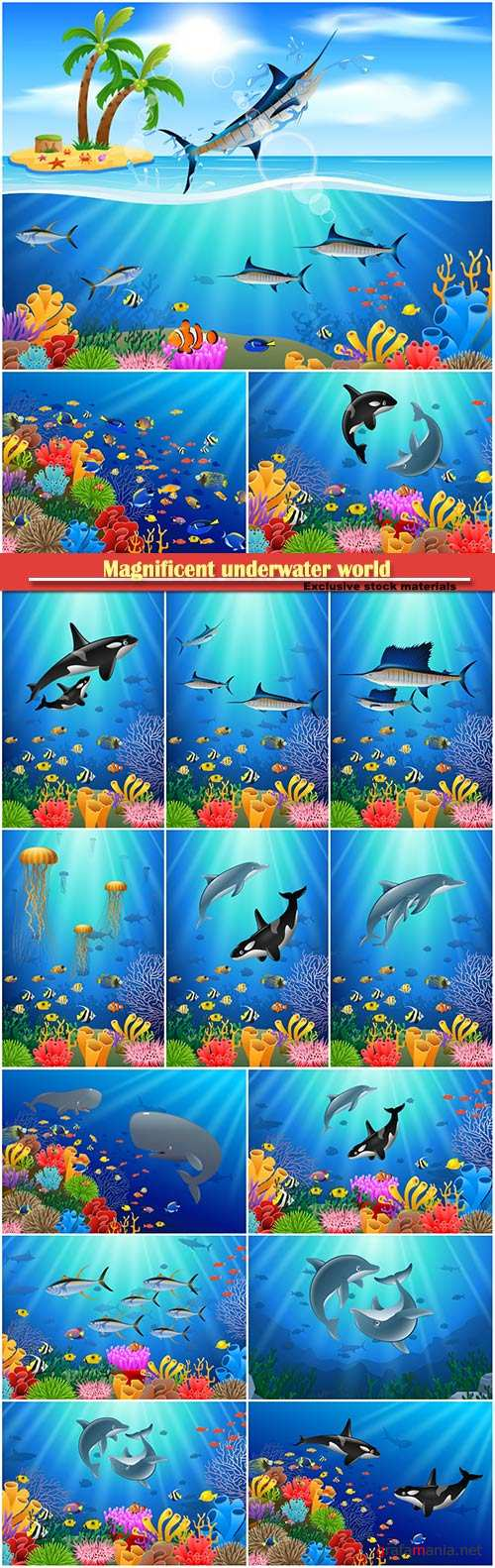 Magnificent underwater world and its inhabitants, vector dolphins, whales, fishes