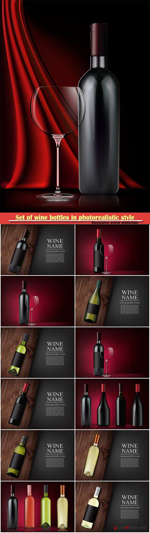 Set of wine bottles in photorealistic style, vector pink, white, red wines