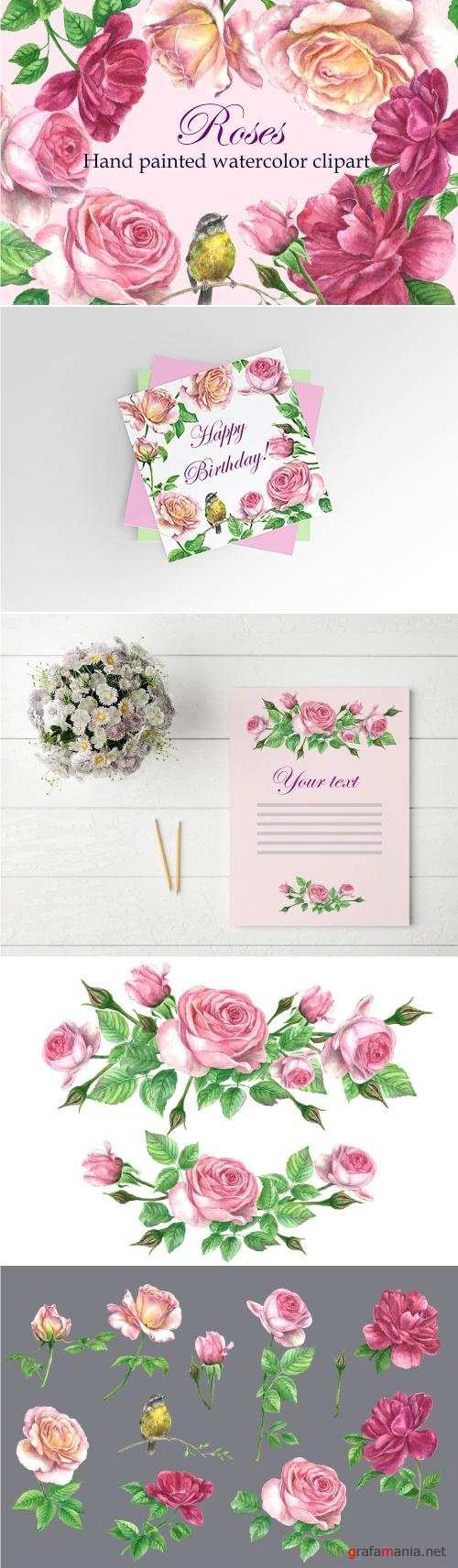 Roses@Bird Watercolor Clipart - 2516675