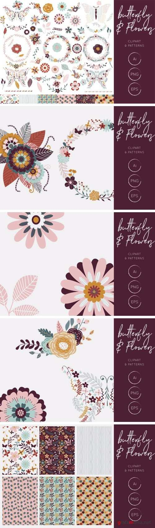 Butterfly & Flowers Clipart and Patterns