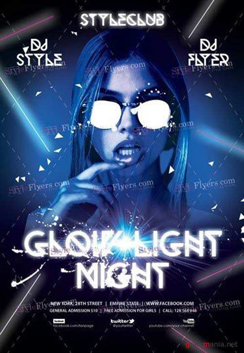 Glow Light Night V3 2018 PSD Flyer Template