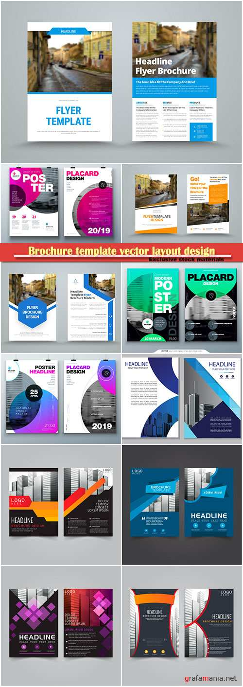 Brochure template vector layout design, corporate business annual report, magazine, flyer mockup # 176