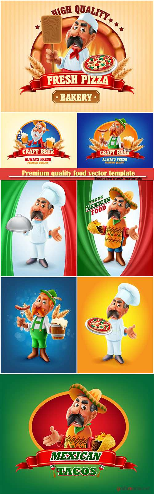 Premium quality food vector template, pizza, beer, Mexican food