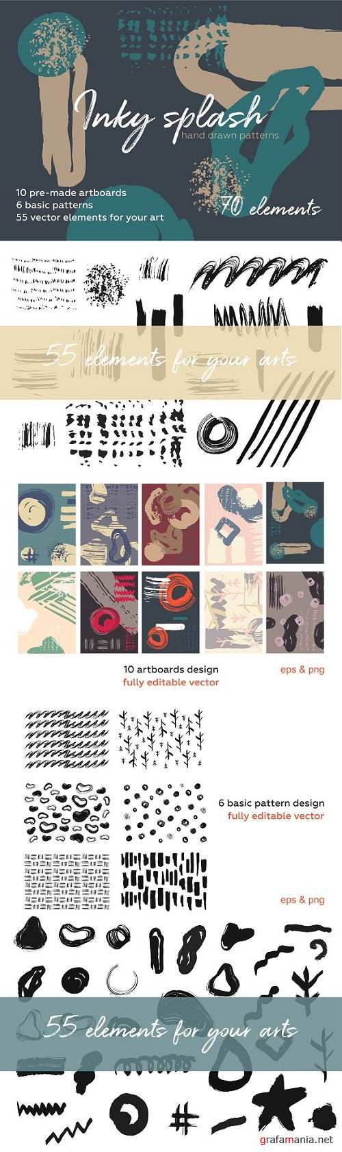 Inky Splash Brush Pattern Bundle 2481551