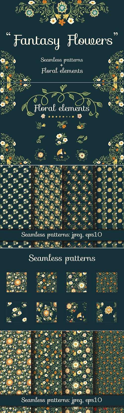 Fantasy Flowers. Seamless Patterns 2147584