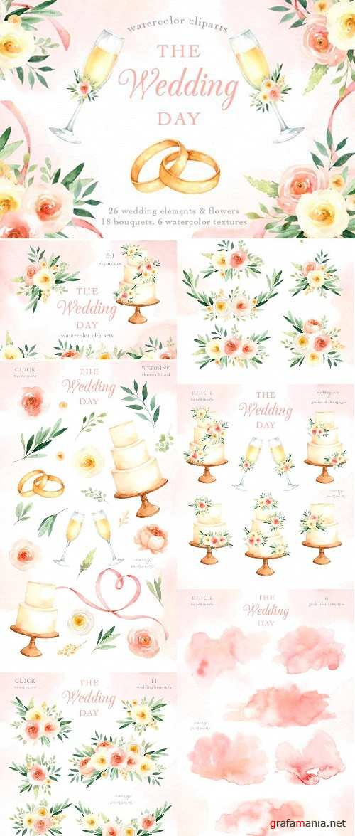The Wedding Day Watercolor Clip Art 2514477