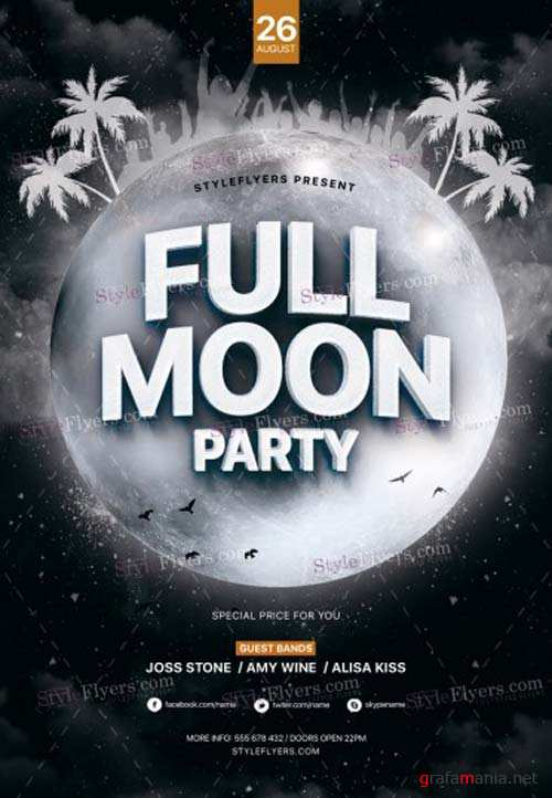 Full Moon Party V7 2018 PSD Flyer Template