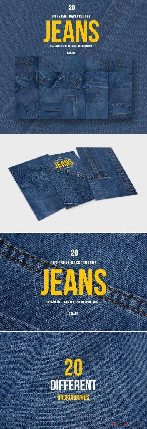 Realistic Jeans Texture Backgrounds | COL.01