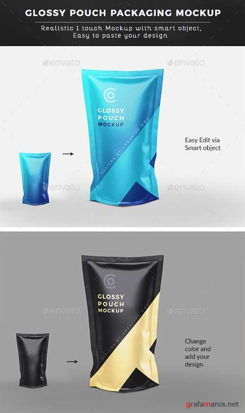 Glossy Pouch Packaging Mockup 22062688