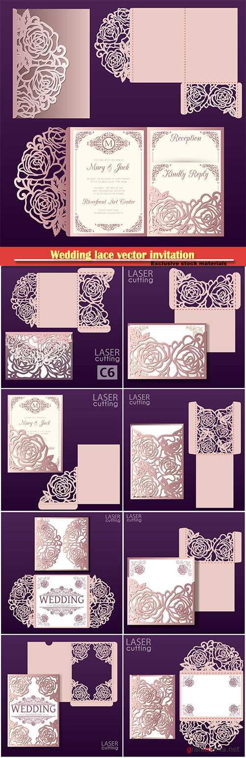 Wedding lace vector invitation mockup, die laser cut envelope template with rose flower