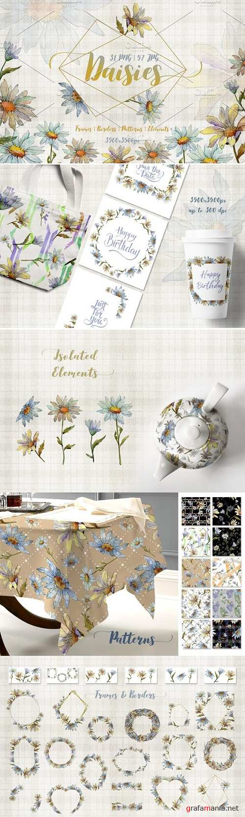 Cool white chamomile PNG watercolor set - 2678131