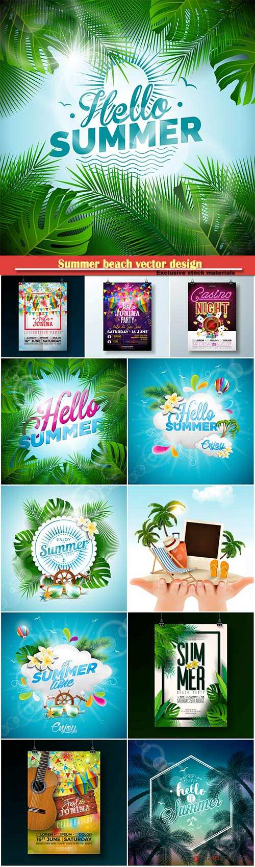 Summer beach vector design background