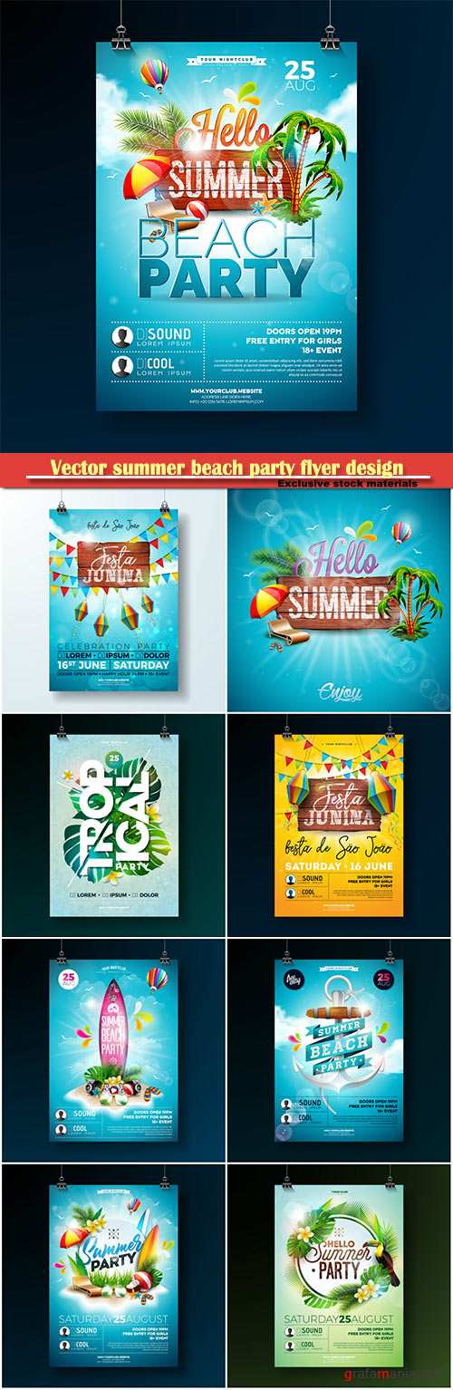 Vector summer beach party flyer design background