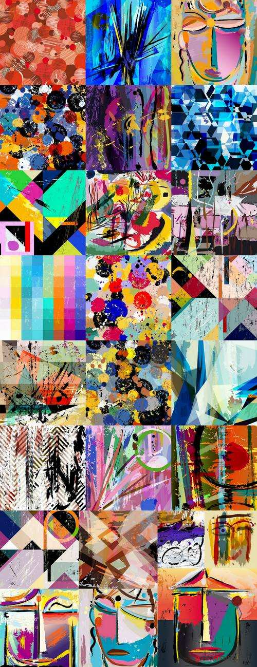 Collection of abstract illustration for t-shirt clothes background is a pattern 3-25 EPS