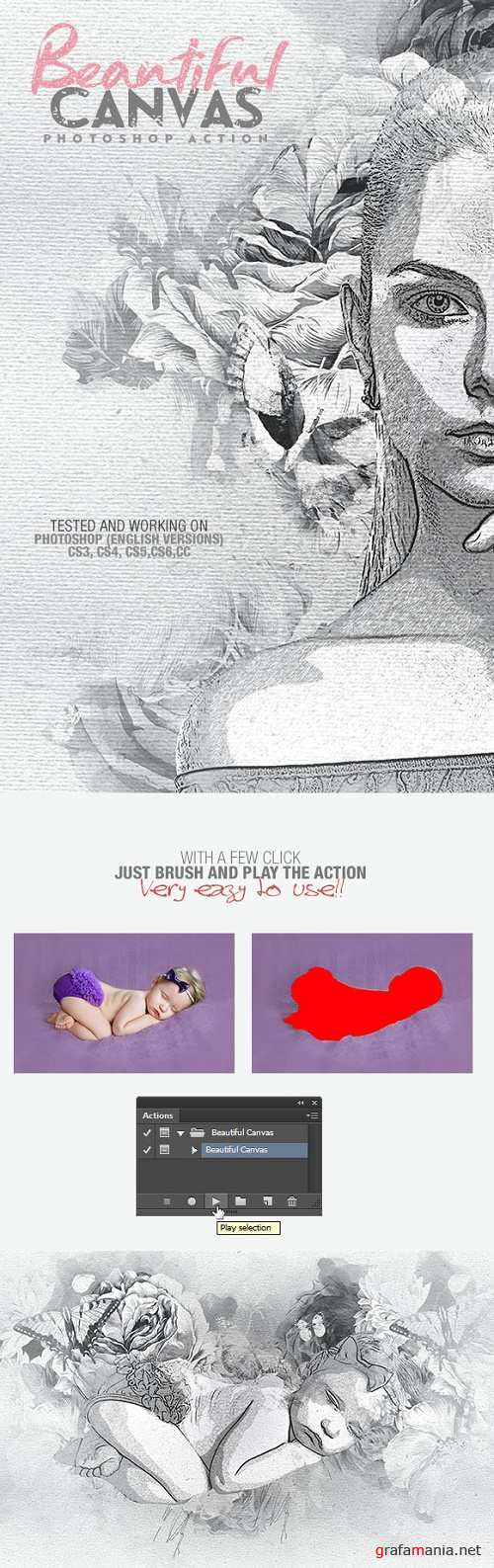 Canvas Photoshop Action 17643277