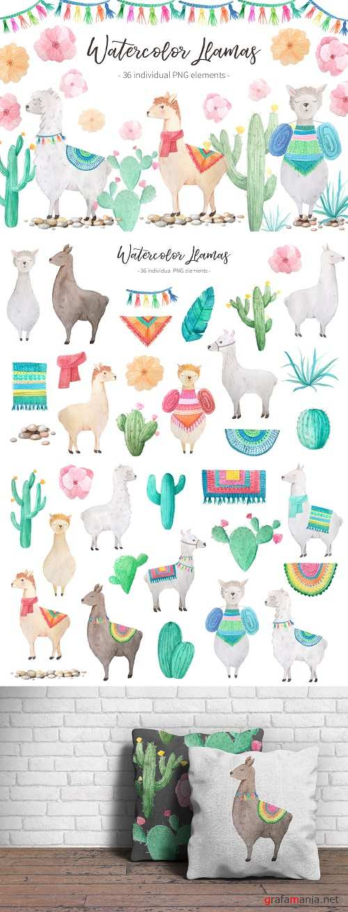 DesignBundles Watercolor Llamas 46881