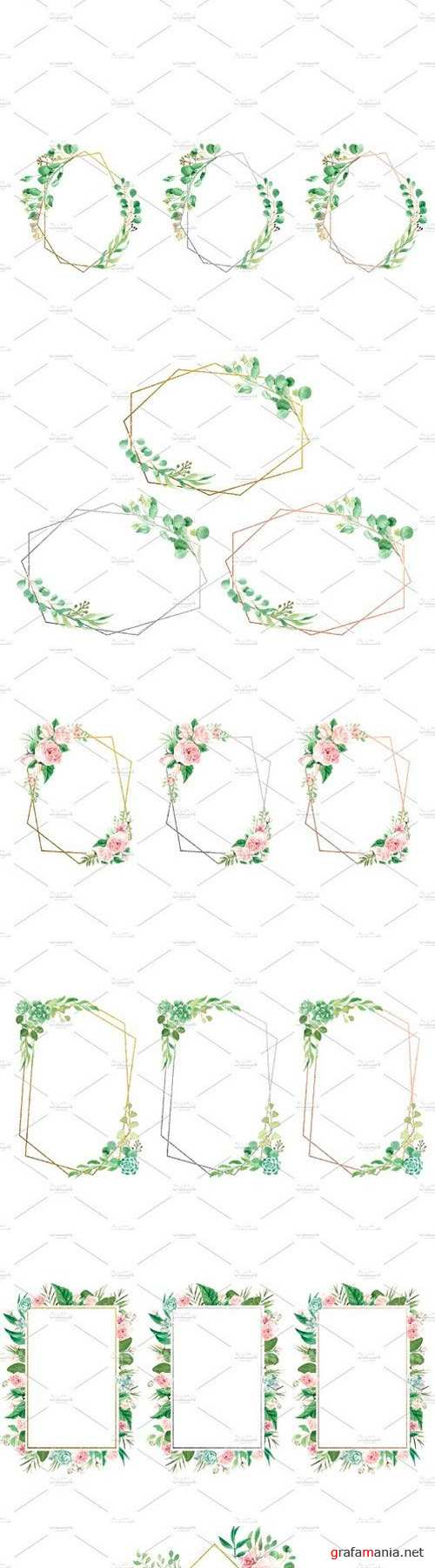 Watercolor Floral Geometric Frames 2519938