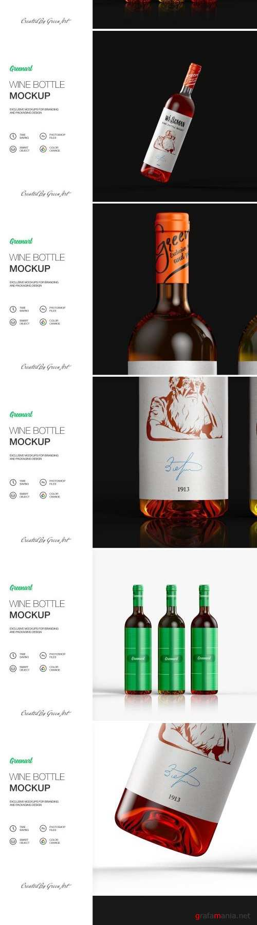 Clear Glass Bottle With Wine-Mockup - 2422440