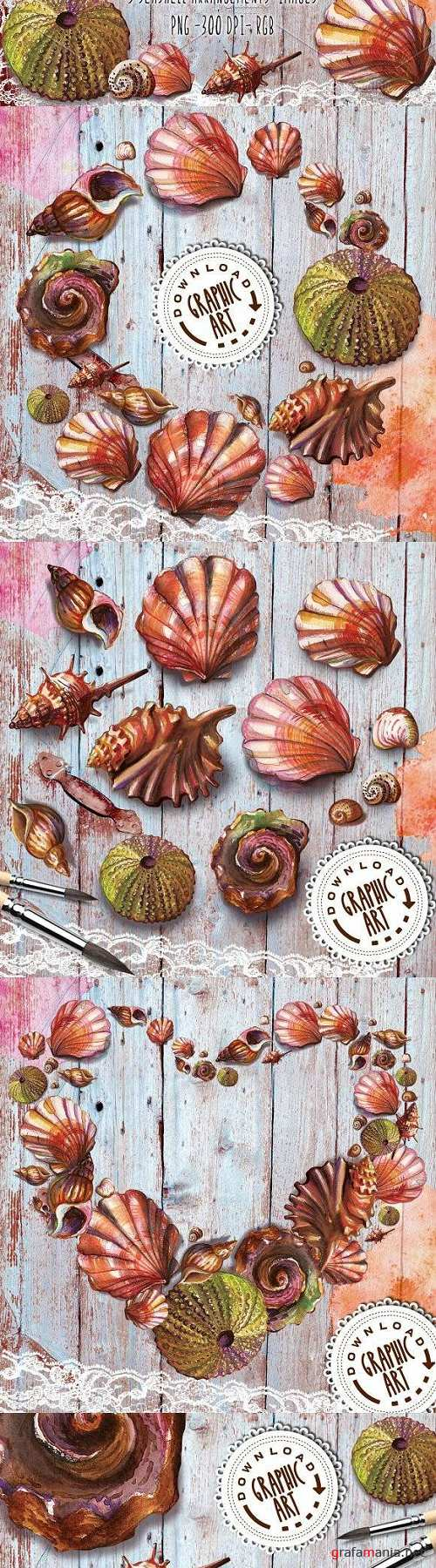 Watercolor clipart Seashell wreath 2390611