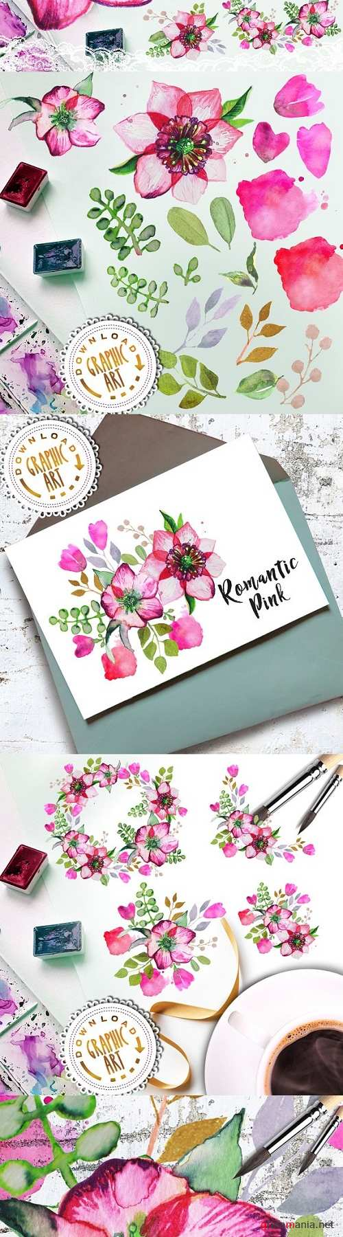 Watercolor Clipart; Romantic Wreath - 2391834