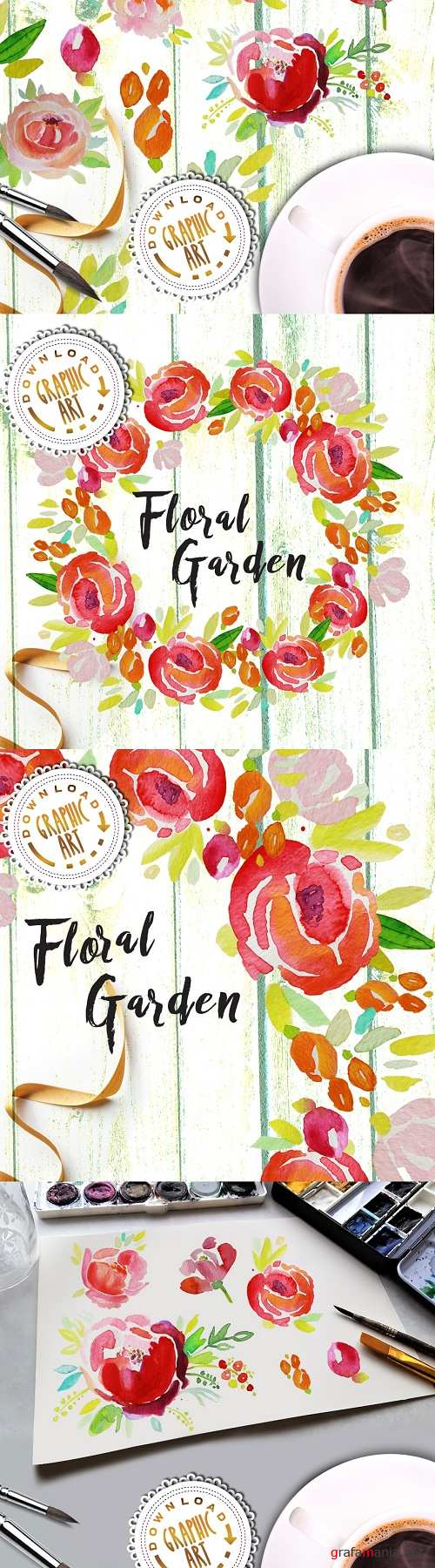 Watercolor Clipart; Floral Wreath - 2391880
