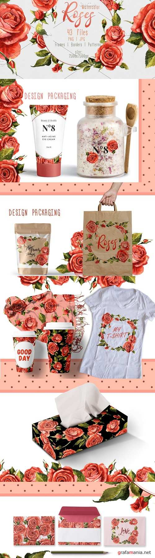 Red Roses PNG Watercolor Flower Set - 2392783