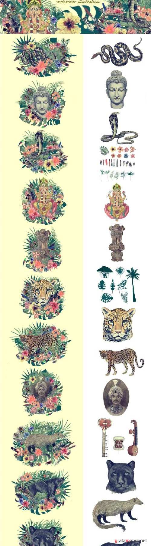 Vintage India 2. Illustrations Set - 2481616