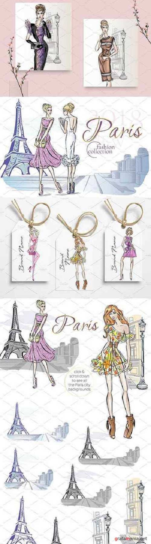 Set of 11 Fashion Girls in Paris - 2414228