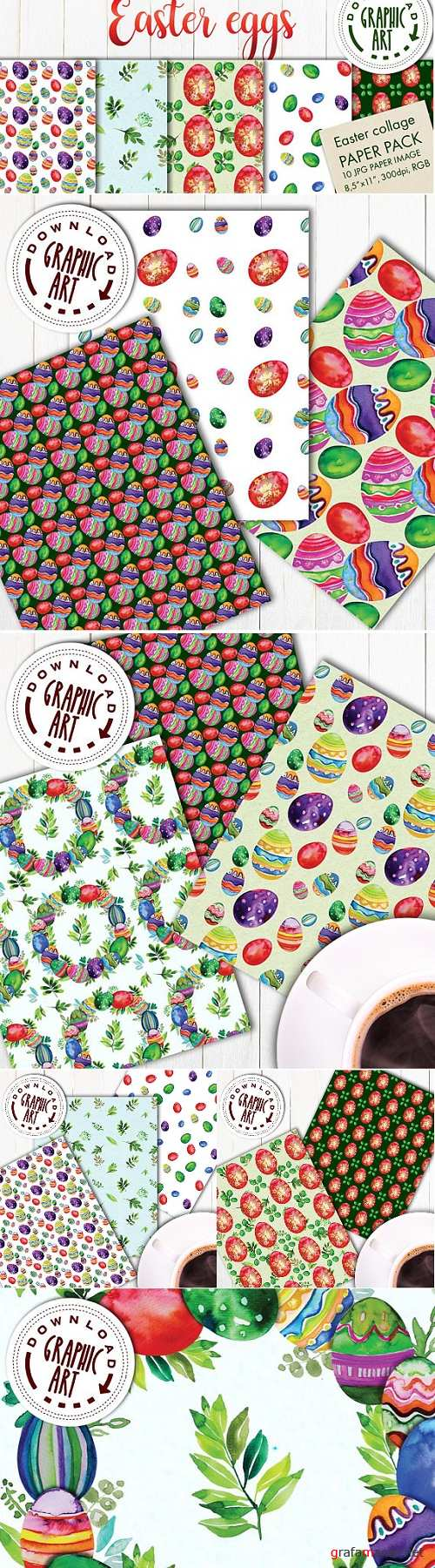 Digital Paper Patterns Pack; Easter Eggs