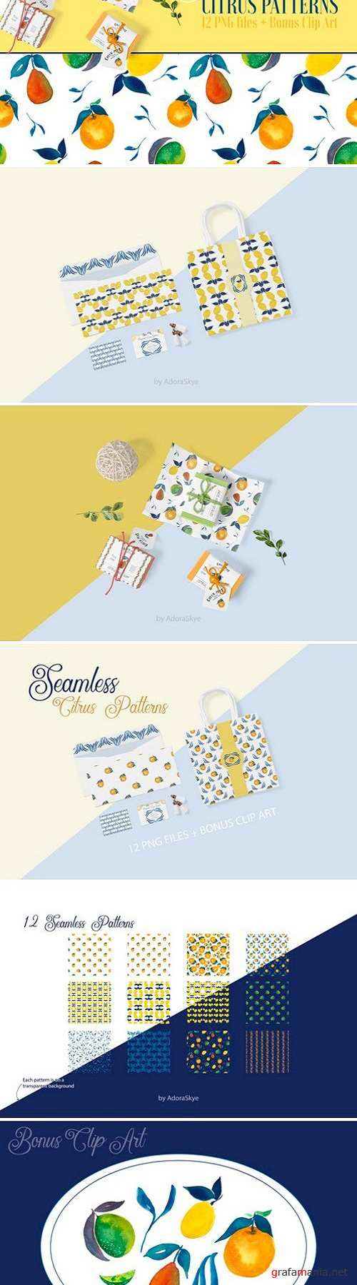 Seamless Citrus Patterns + Clip Art 2517847