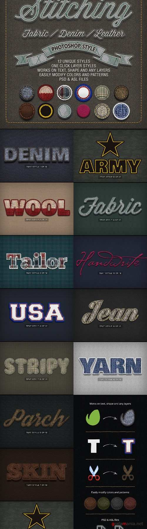 Stitching Fabric - Denim - Leather Text Effects - 8230591