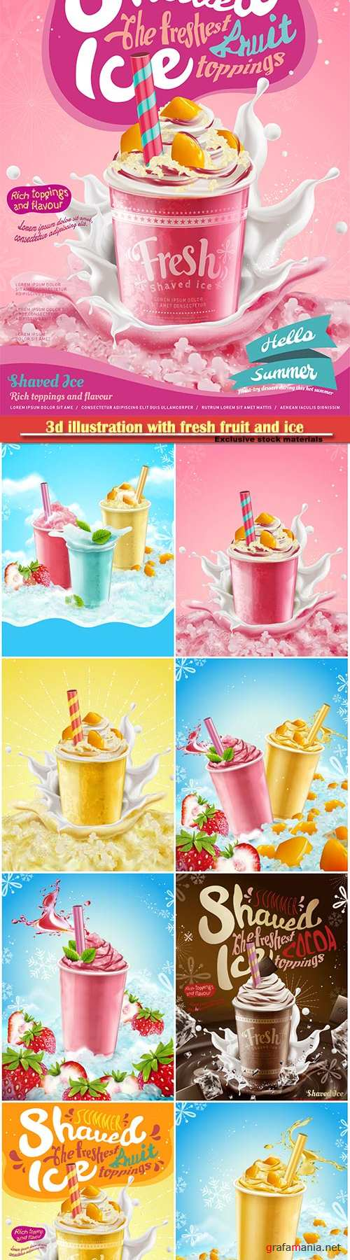 3d illustration with fresh fruit and ice elements, syrup ice shaved ads with creamy topping and splashing