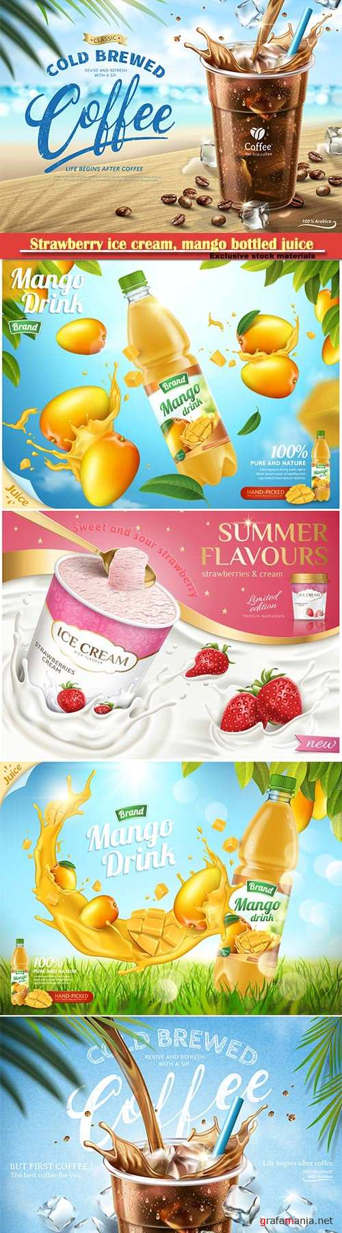Strawberry ice cream, mango bottled juice, coffee ads, 3d vector illustration