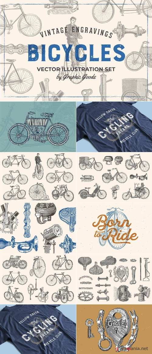 Bicycles - Vintage Illustration Set - 2669642