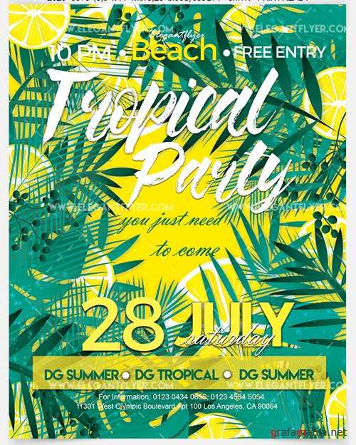 Tropical Party V1 2018 Flyer PSD Template