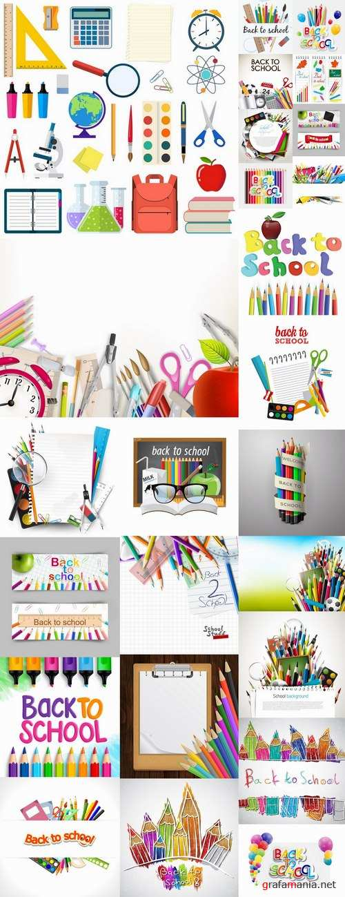 Back to school pencil pen line flyer banner 25 EPS
