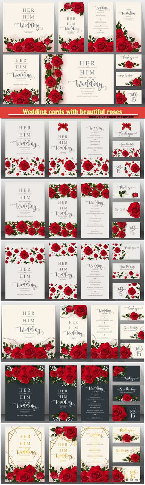 Wedding cards with beautiful roses vector illustration