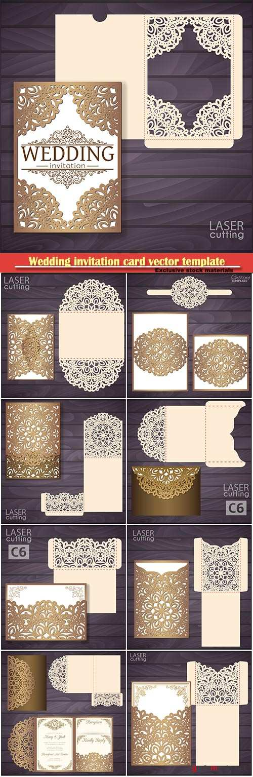 Wedding invitation card vector template, envelope with lace frame