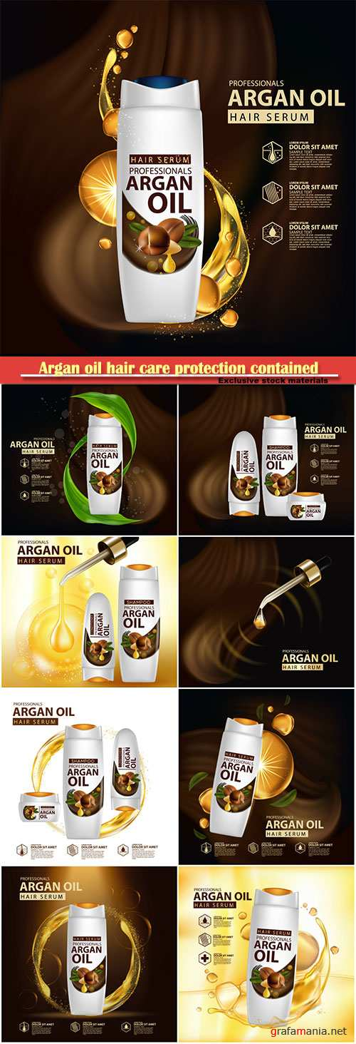 Argan oil hair care protection contained in bottle background 3d vector illustration