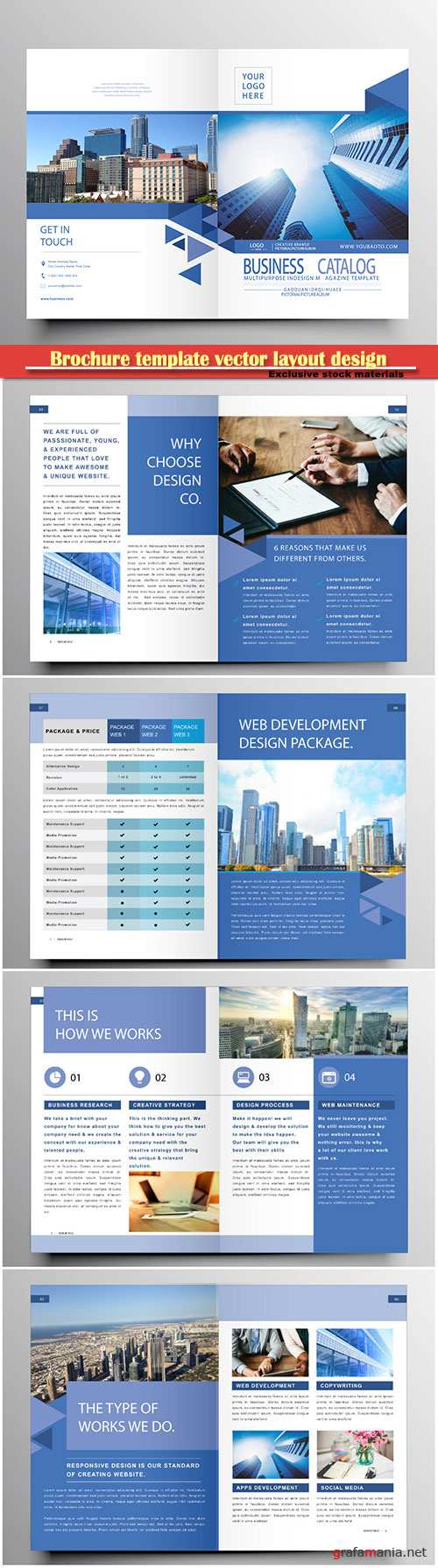 Brochure template vector layout design, corporate business annual report, magazine, flyer mockup # 184