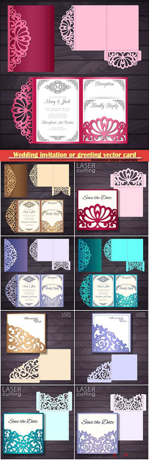 Wedding invitation or greeting vector card with abstract ornament # 6