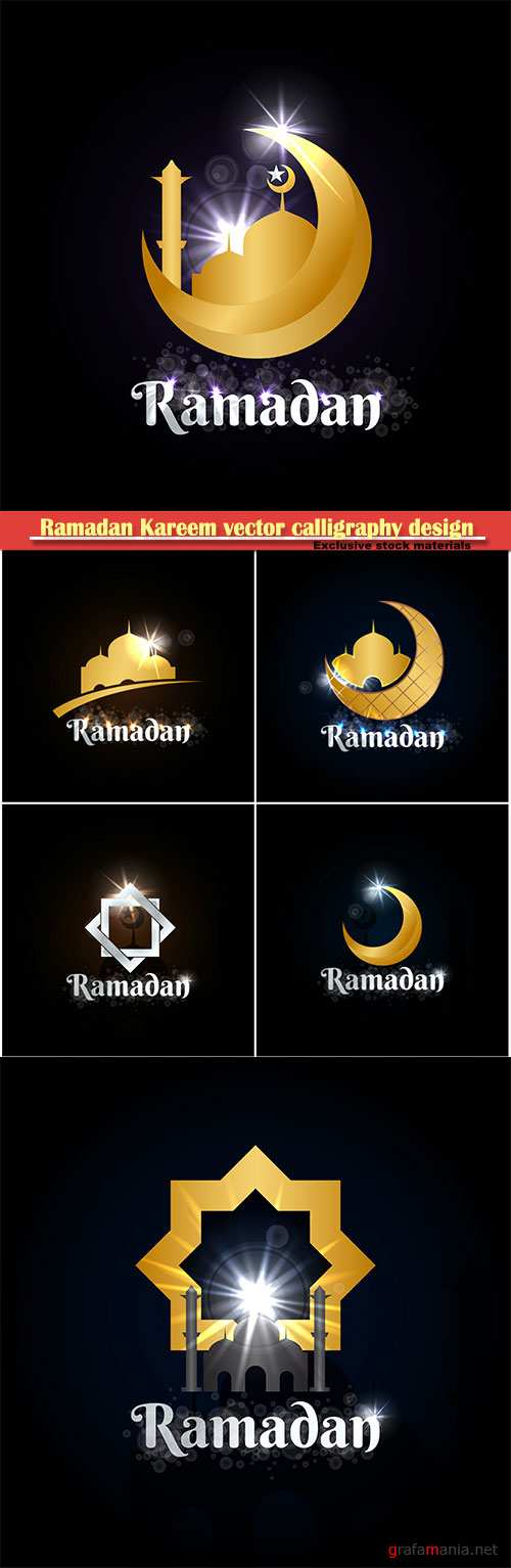 Ramadan Kareem vector calligraphy design with decorative floral pattern, mosque silhouette, crescent and glittering islamic background # 51