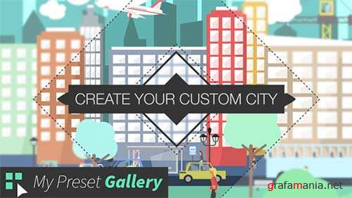 Flat City Vector - City with Buildings, Pedestrians, Cars, Planes... in Flat Design - After Effects Project (Videohive)