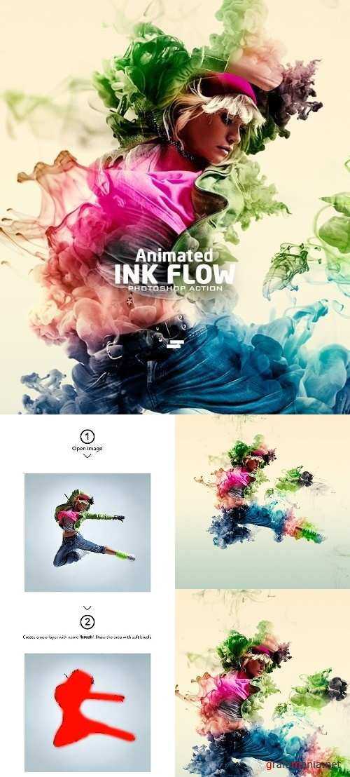 Gif Animated Ink Flow Photoshop Action 21960670