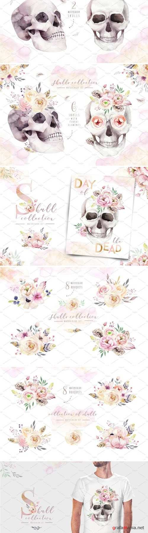Day of The Dead Watercolor set - 2739348