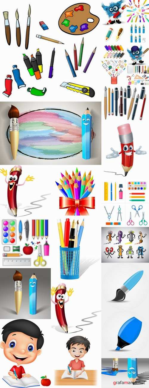 Back to school pencil writing pen school theme flyer banner 25 EPS