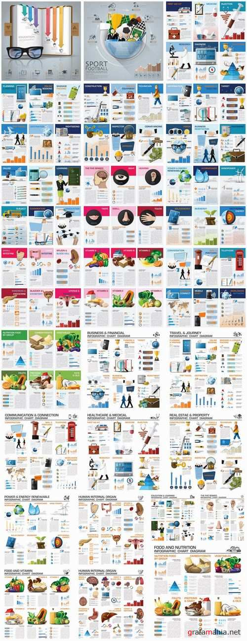 Business infographics medicine food products 25 EPS