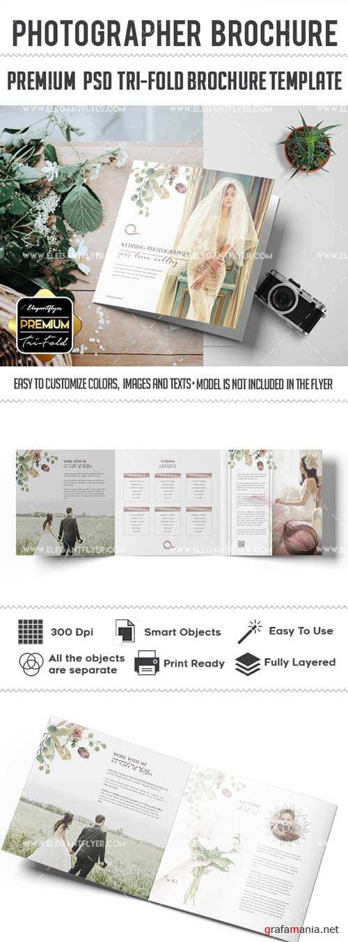 Wedding Photographer v3 2018 Tri-Fold Brochure PSD Template